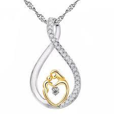 mother baby heart charm pendant mom