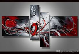 2019 contemporary abstract oil painting canvas black white red artwork modern decoration handmade home office hotel wall art decor gift art abs48 from