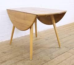 vintage ercol windsor light elm round drop leaf dining table 1960s retro