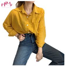 <b>Korean Fashion</b> Base Blouse Shirt <b>Women Clothing Folding</b> Yellow ...