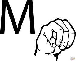 Asl Sign Language Letter M Coloring
