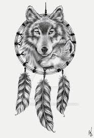 Wolf Head Dream Catcher Dreamcatcher With Fox And Wolf Head Tattoo Design just things 2