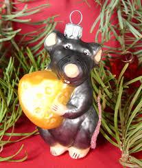 Details Zu Christbaumschmuck Glas Christbaumkugel Maus Mit Käse Fantasie Ornament 9 Cm