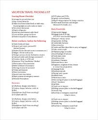 Sample Travel Packing List Sample Packing List 7 Documents In Word Pdf