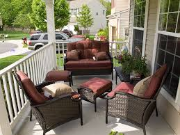 Patio, Maroon And Brown Square Modern Rattan Patio Furniture For Apartment  Balcony Stained Ideas For