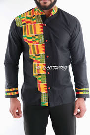 Kente Shirt Designs Men Shirt With Half Shaped Kente Fabric African Men