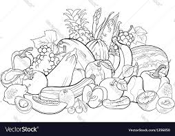 Small Picture Fruits and vegetables for coloring book Royalty Free Vector