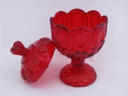 ruby red vintage moon stars pattern glass candy dish wedding bowl w lid