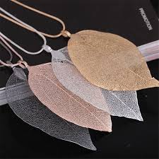 details about long sweater chain necklace big leaf pendant women fashion jewelry charm 3 color