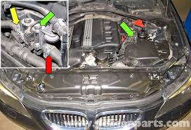 bmw e60 5 series heater valve testing and replacement pelican testing the heater control valve the inlet for the heater control valve green arrows