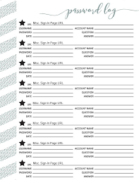 Password Log Editable Password Log Pdf Free Printable Download