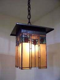 arts and crafts style lantern with hammered copper art glass inside craftsman chandelier designs 4