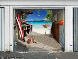 life s a beach a paradise themed garage door cover features sun sea and