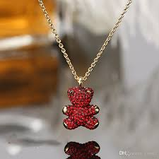 whole 3d teddy bear bear necklace crystal clavicle chain sent wife wife birthday gift fashion jewelry rose gold necklace opal necklace from brose2
