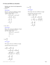 5 3 sum and difference identities for cosine worksheet answers 368970