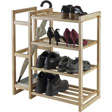 Shoe Rack Isabel Shoe Rack With Umbrella Stand And Tray Natural Finish