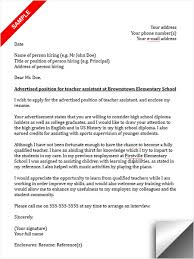 teacher assistant cover letter sample teacher assistant cover letter sample