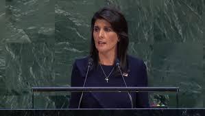 Resultado de imagen para La embajadora de EEUU en la ONU Nikki Haley: