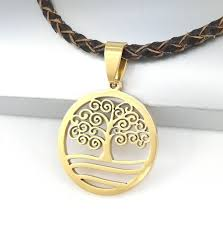 details about gold spiral celtic tree of life pendant brown braided leather choker necklace