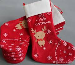 New Christmas Decorations Snowflake Deer Christmas Stocking Gift Bag Candy  Apple Bags Wrap Long Stockings Socks Red Festive Party Supplies Christmas  Decs ...