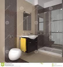 Modernes Badezimmer Mit Den Beige Und Braunen Fliesen Stockbild ...