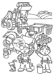 Small Picture and friends coloring pages for kids printable free Bob the builder