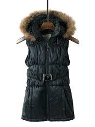 zipper detachable faux fur hooded women s vest