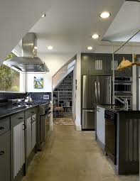 Concrete Flooring Kitchen Kitchen Flos Frisbi Pendant Light With Black Glass Tile
