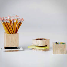 Block Wooden Pencil Holder