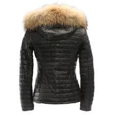 happy grey leather fur trim hooded jacket