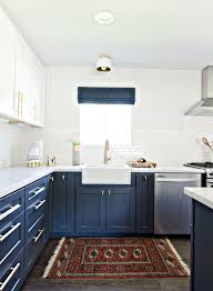 white and blue kitchen cabinets
