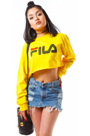 fila yellow top. yellow f crop fila top coal n terry
