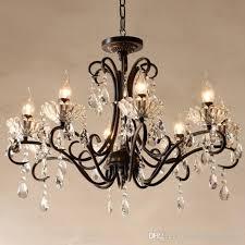 crystal chandelier candle holder led crystal living room dining room restaurant light black rustic bar hotel ceiling lamp glass lamp diy 3 light chandelier