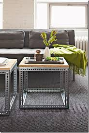 And then the last idea submitted with a link is this industrial coffee table,  with a metal base made from slotted angle hardware.
