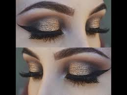 gold and black smokey eye makeup tutorial glittery smokey eye