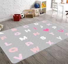 Alphabet Nursery, Nursery Rug, Kids Rug, Pink Nursery Rug, Grey Nursery  Decor