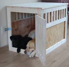 How to make a dog crate Wood And Home For Our Puppy We Choose To Leave The Kennel Unfinished Because Puppies Tend To Chew And Scratch But Now That Avery Is Growing Up Ana White Ana White Large Wood Pet Kennel End Table Diy Projects