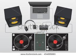 dj speakers vector. dj mixing turntable set vector diagram speakers