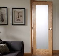 white glass panel interior doors with oak frame