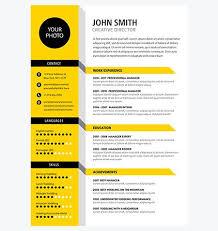 Creative Cv Resume Template Yellow Color Creative Cv Cv