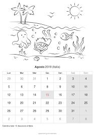 Calendario Agosto 2019 Da Stampare Italia