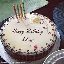 Candles Decorated Happy Birthday Cake For Mansi