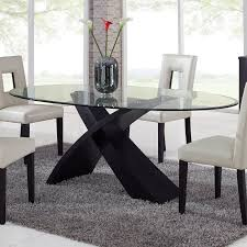 dining room tables oval. Global Furniture Exclaim Oval Glass Dining Table - The Stylized, X-shaped Base On Room Tables L