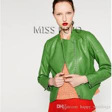 2017 new autumn fashion street women s washed pu leather jacket zipper apple green color short las basic jackets top quality washed pu leather jackets