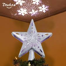 Lighted Globe Led Revolving Tree Topper Led Christmas Tree Topper Star 3d Top Light Projection Lamp Sequin Christmas Party Decoration For Home Bar Cafe Restaurant