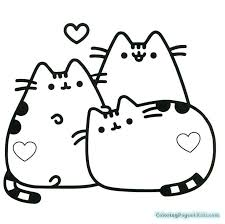 Pusheen Coloring Pages Pusheen With Heart Symbol Free Printable