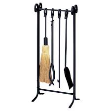 uniflame black wrought iron 5 piece inline base fireplace tool set with heavy weight steel