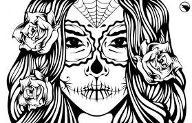 Small Picture Sugar Skull Girl Illustration Coloring Page Ideas Skull Coloring