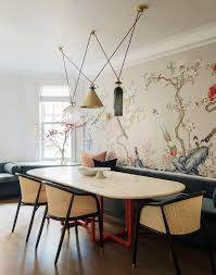 Fun Lighting And Chinoiserie Wallpaper In The Dining Room  Studio DB Park Avenue House Tour