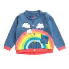Light Blue Cardigan Toddler Us 11 58 30 Off 2018 Children Sweater Spring Baby Girls Rainbow Clouds Sweater Kids Clothing Knitting Cardigan Long Sleeve Tops Jackets 30 In